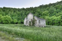 Stone church in green field Royalty Free Stock Images