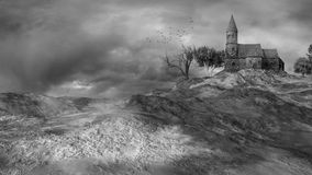Stone church on the hill Royalty Free Stock Photos