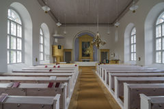 Stone church. From inside in Finnish Lapland stock photos