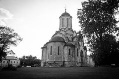 Stone church in old monastery black and white Royalty Free Stock Images