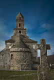 Stone church religious scene. Orthodox church of Densus in Romania Stock Image