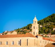 Church tower in Dubrovnik. Stone Church tower with a bell in Dubrovnik Croatia Royalty Free Stock Photos