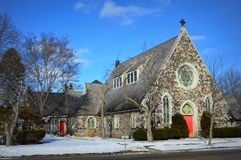 Stone Church With Red Doors Royalty Free Stock Images