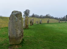 Stone circle. Avebury prehistoric stones in fog Stock Photo