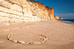 Stone circle on a beach near Lagos in Portugal Stock Photography