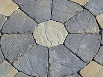 Stone circle design of pavers grey white Stock Photos