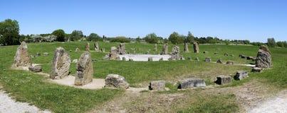 Stone circle panorama milton keynes england Stock Image