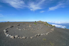 Stone circle on a volcanic plateau in El Hierro Stock Image