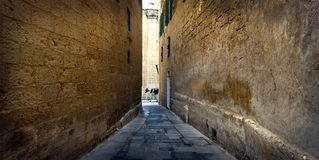 The stone city is old Malta. Walls of the old city. Mdina. The Maltese archipelago Stock Photos