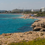 Stone cliff in a beautiful blue sea Cyprus Stock Image