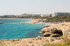 Stone cliff in a beautiful blue sea Cyprus Royalty Free Stock Images