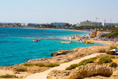 Stone cliff in a beautiful blue sea Cyprus Royalty Free Stock Photo