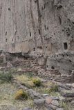 Stone Cliff Dwelling Ruins in Los Alamos New Mexico stock images