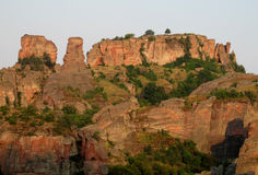 Stone cliff and rock in Belogradchik, Bulgaria on sunset Royalty Free Stock Photos