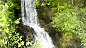 Stone cliff small river waterfall in green tree mountain forest in beautiful 4k steady wild nature landscape shot stock video footage