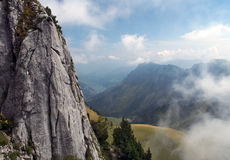 Stone cliff in the Swiss Alps Stock Photo