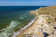 Stone cliffs on the coast. And blue sky stock photos
