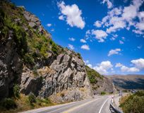 Stone Cliffs at Devils Staircase, lake wakatipu, New Zealand. Devils Staircase Lookout on the scenic road along the shore of Lake Wakatipu, not far from Stock Images