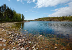 Stone coast. Small bay on one of islands of Ladoga lake Royalty Free Stock Photos