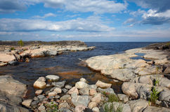 Stone coast. Of one of islands of Ladoga lake Royalty Free Stock Photography
