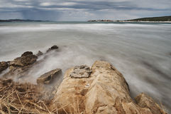 Stone coast on Adriatic sea. Royalty Free Stock Images