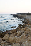 Stone coast in the evening Royalty Free Stock Image