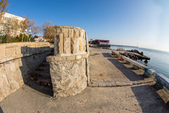 The stone coastal fortifications in Pomorie, Bulgaria Stock Photo