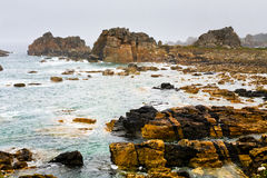 Stone coastline of Atlantic ocean in Brittany Royalty Free Stock Photography