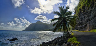 The stone coastline, Dominica, Lesser Antilles. The stone coast in the Berekua village, Dominica, Lesser Antilles stock photo