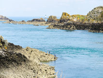 Stone coastline of English Channel, Brittany Royalty Free Stock Image