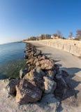 Stone coastline in Pomorie, Bulgaria Stock Images