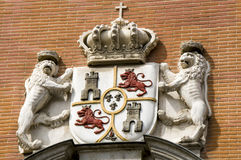 Stone coat of arms of Spain. Royalty Free Stock Image