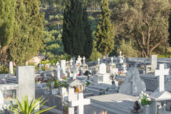 Stone coffins on a greek orthodox cemetery Stock Image