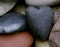 Stone cold heart. Heart shaped smooth granite heart among other stones Stock Photos