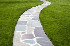 Stone Color Walkway. With green background Stock Photography