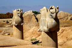 Stone column sculpture of a Griffin in Persepolis. The Victory symbol of the ancient Achaemenid Kingdom. Iran. Persia. Shiraz Stock Images