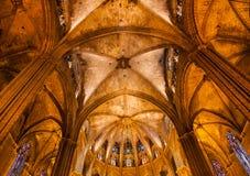 Stone Columns Arches Gothic Catholic Barcelona Cathedral Basilic Royalty Free Stock Image