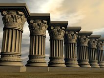 Stone columns - 3D render Royalty Free Stock Images