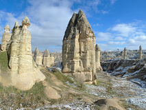 Stone columns in Gorcelid Valley in Cappadocia, Turkey Stock Images