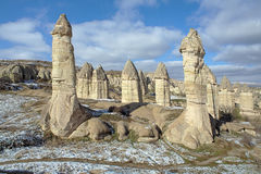 Stone columns in Gorcelid Valley in Cappadocia, Turkey Royalty Free Stock Photo