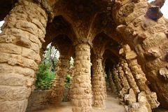 Stone columns in Guell park Royalty Free Stock Photography