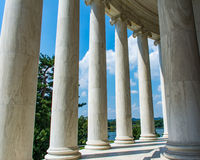 Stone Columns at the Jefferson Memorial. View of the tidal basin seen from the Jefferson Memorial in Washington DC Royalty Free Stock Photos