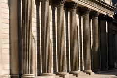 Stone columns outside bank of england Royalty Free Stock Image