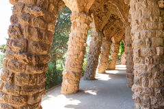 Stone columns of Park Guell Royalty Free Stock Photography
