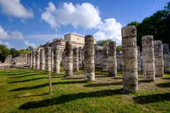 Stone columns and pilars in famous archeological site Chichen It Royalty Free Stock Photos