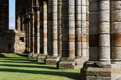 Stone columns within the ruins of Whitby Abbey Royalty Free Stock Image