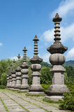 Stone columns of temple ruins Royalty Free Stock Photo