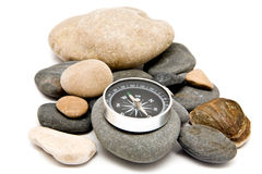 Stone and compass Stock Photo