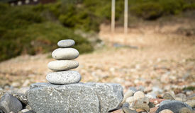 Stone composition on the beach stock images