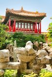 Stone composition bright red pavilion in the Imperial Garden of the Forbidden City. Beijing, China. stock images